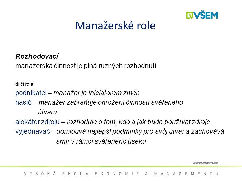 Manažerské role Rozhodovací