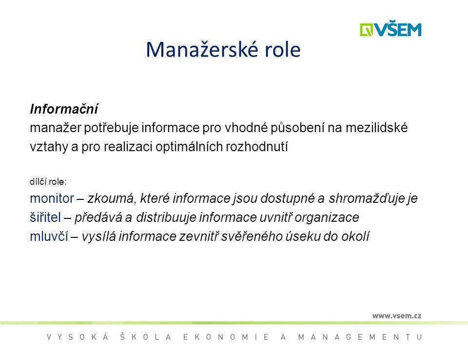 Manažerské role Informační