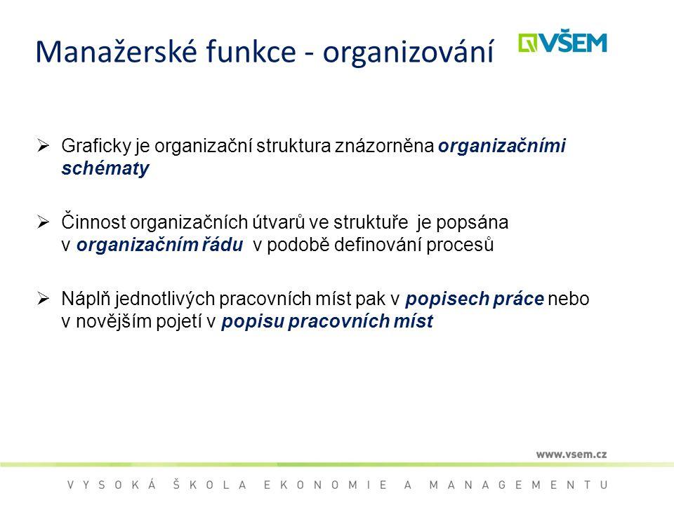 Manažerské funkce - organizování