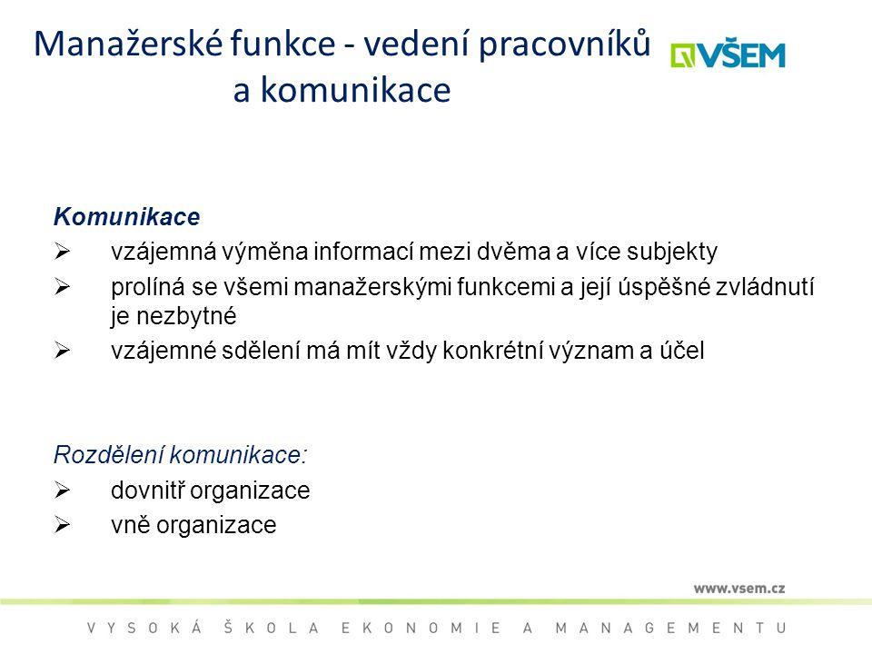 Manažerské funkce - vedení pracovníků a komunikace