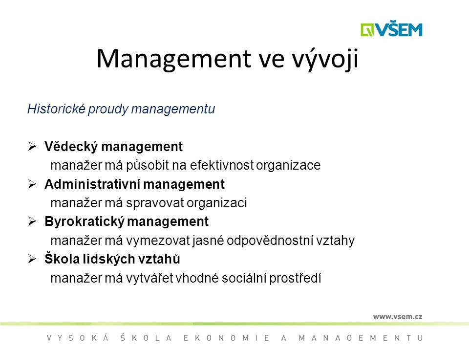 Management ve vývoji Historické proudy managementu Vědecký management