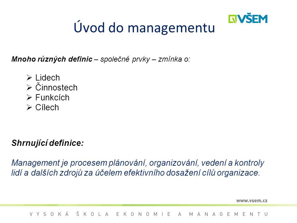 Úvod do managementu Lidech Činnostech Funkcích Cílech
