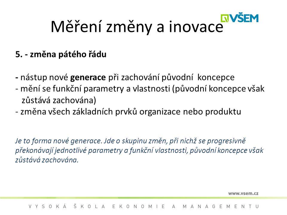 Měření změny a inovace 5. - změna pátého řádu