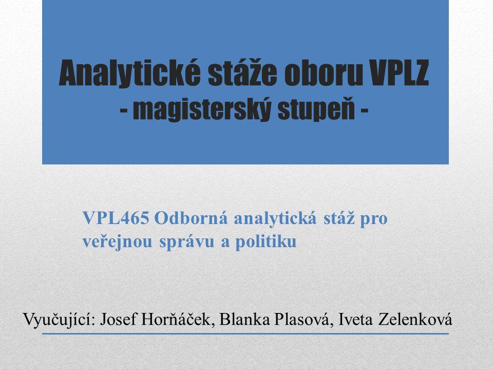 Analytické stáže oboru VPLZ - magisterský stupeň -