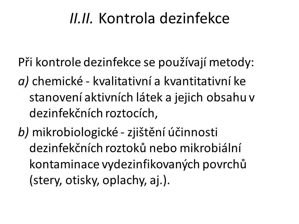 II.II. Kontrola dezinfekce