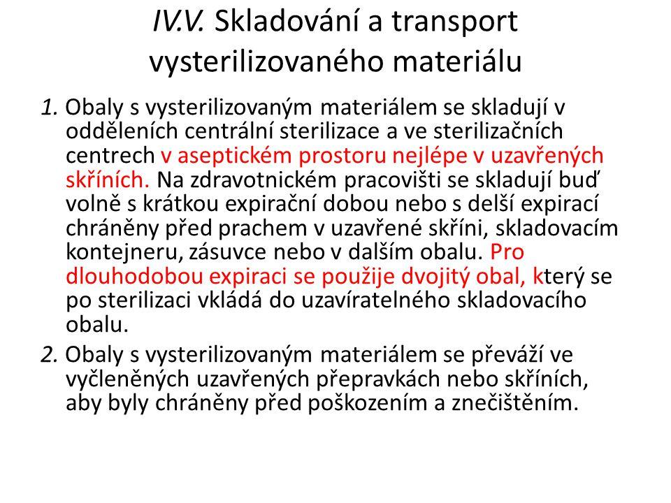 IV.V. Skladování a transport vysterilizovaného materiálu
