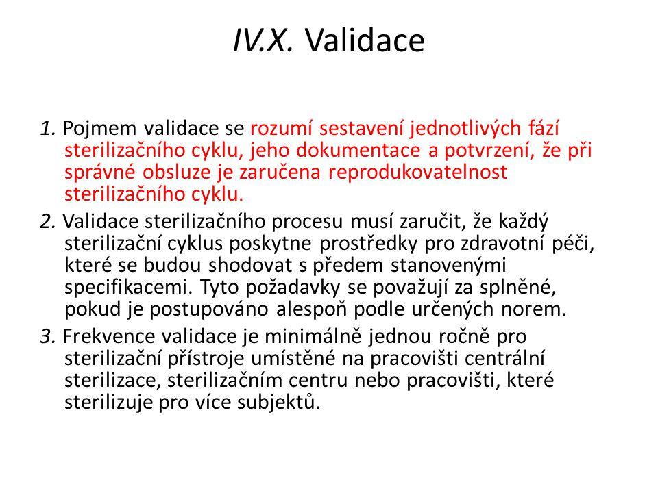 IV.X. Validace