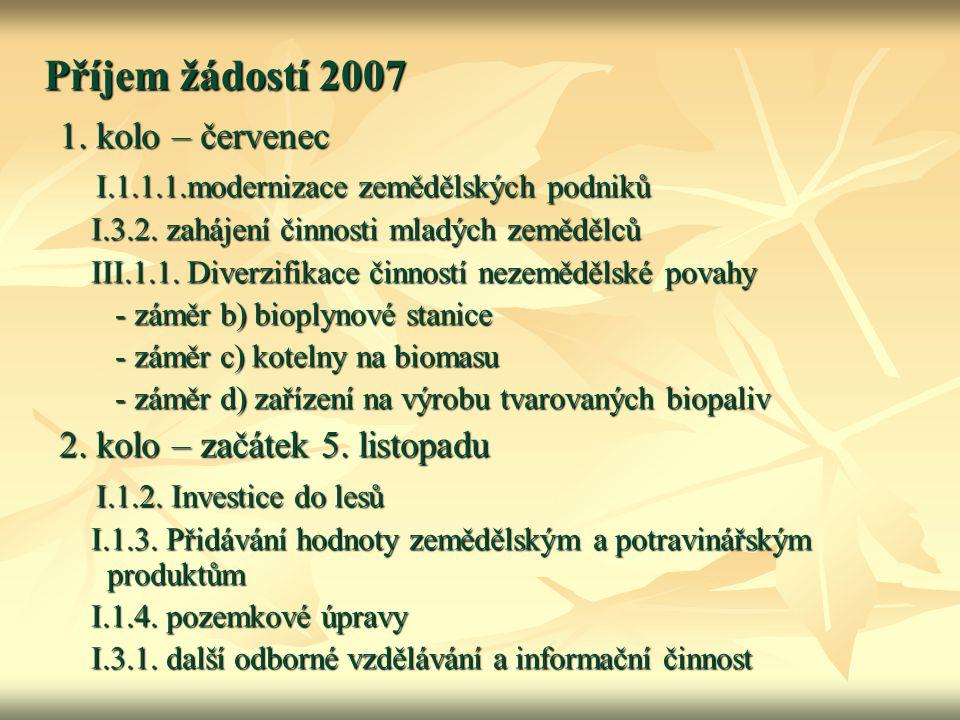 Příjem žádostí 2007 1. kolo – červenec