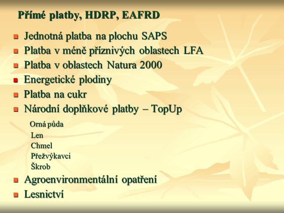 Přímé platby, HDRP, EAFRD