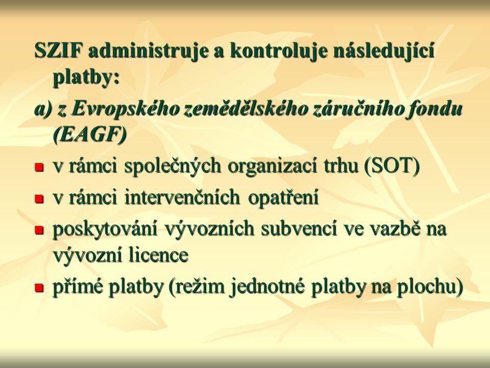 SZIF administruje a kontroluje následující platby: