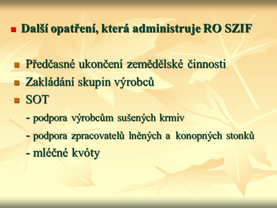 Další opatření, která administruje RO SZIF