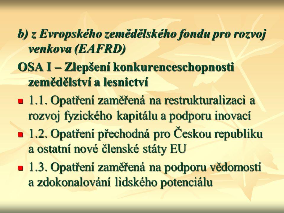 b) z Evropského zemědělského fondu pro rozvoj venkova (EAFRD)