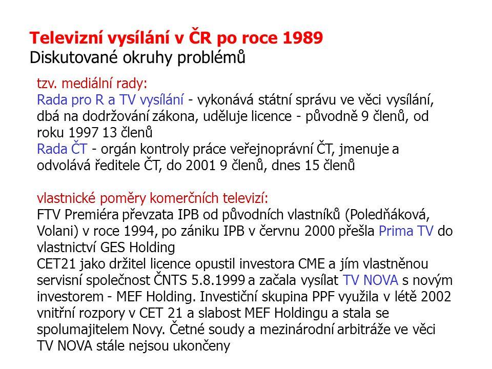 Televizní vysílání v ČR po roce 1989 Diskutované okruhy problémů