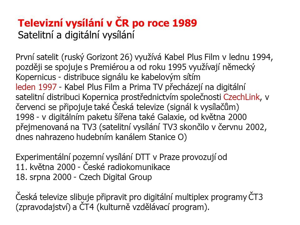 Televizní vysílání v ČR po roce 1989 Satelitní a digitální vysílání