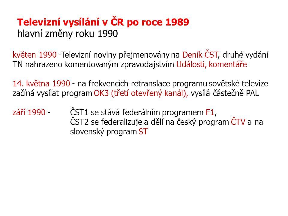 Televizní vysílání v ČR po roce 1989 hlavní změny roku 1990