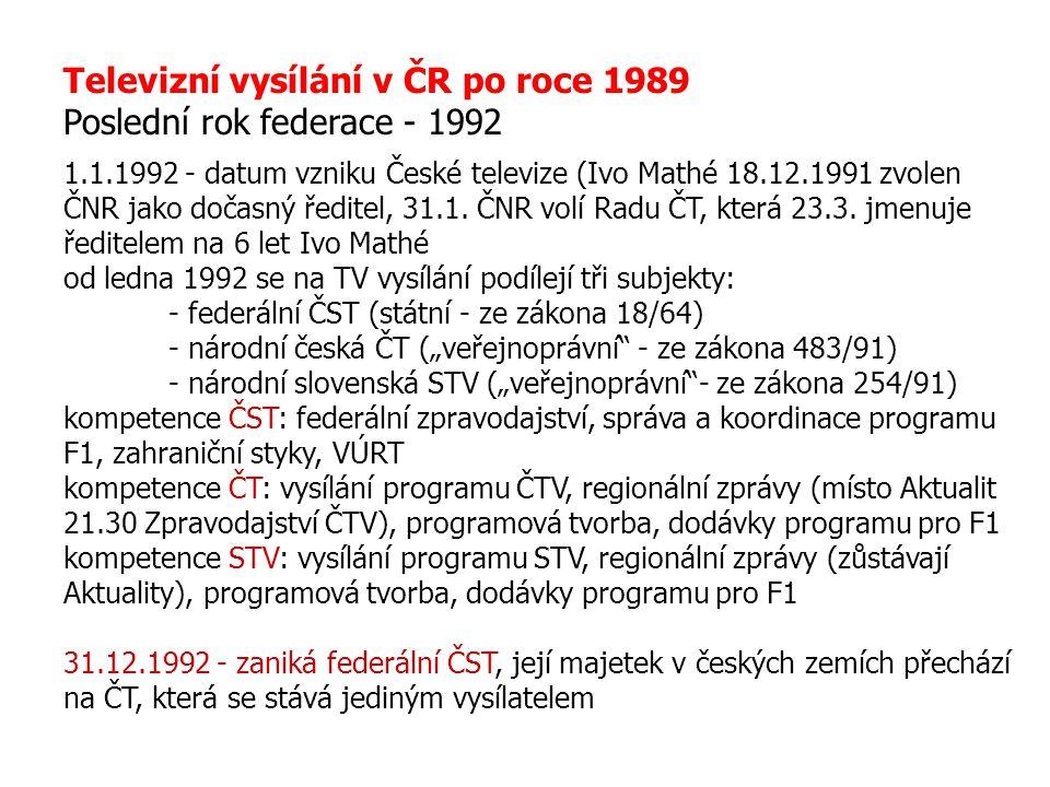 Televizní vysílání v ČR po roce 1989 Poslední rok federace - 1992