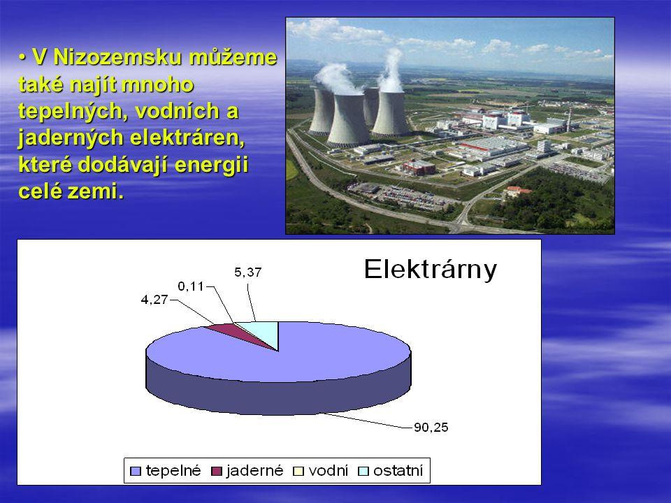 V Nizozemsku můžeme také najít mnoho tepelných, vodních a jaderných elektráren, které dodávají energii celé zemi.