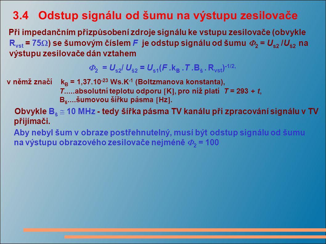 3.4 Odstup signálu od šumu na výstupu zesilovače
