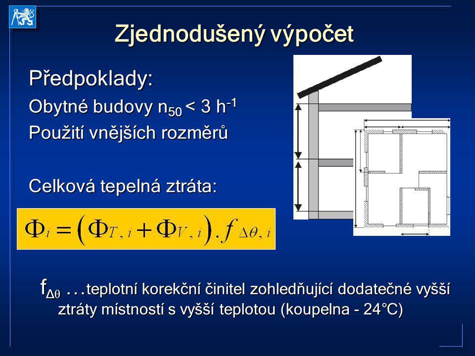 Zjednodušený výpočet Předpoklady: