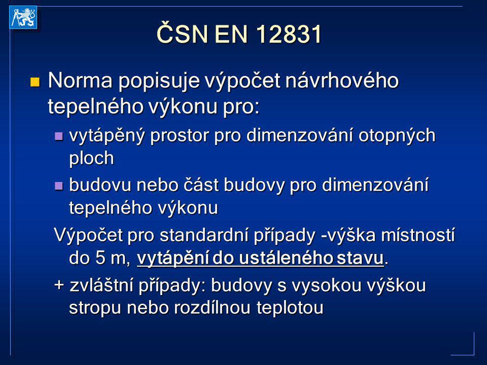 ČSN EN 12831 Norma popisuje výpočet návrhového tepelného výkonu pro: