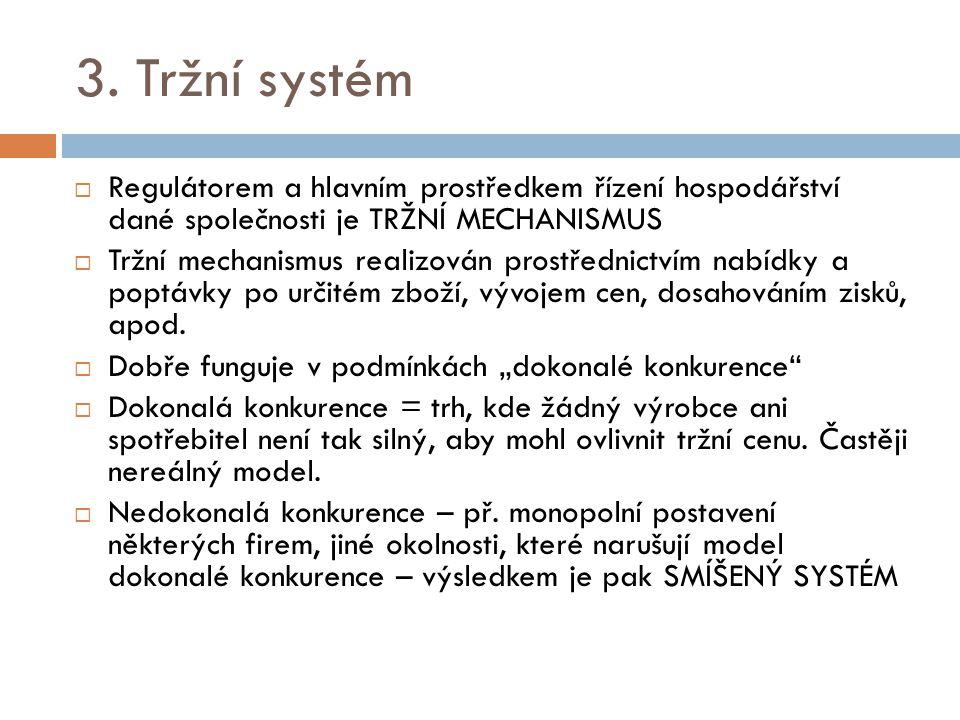 3. Tržní systém Regulátorem a hlavním prostředkem řízení hospodářství dané společnosti je TRŽNÍ MECHANISMUS.