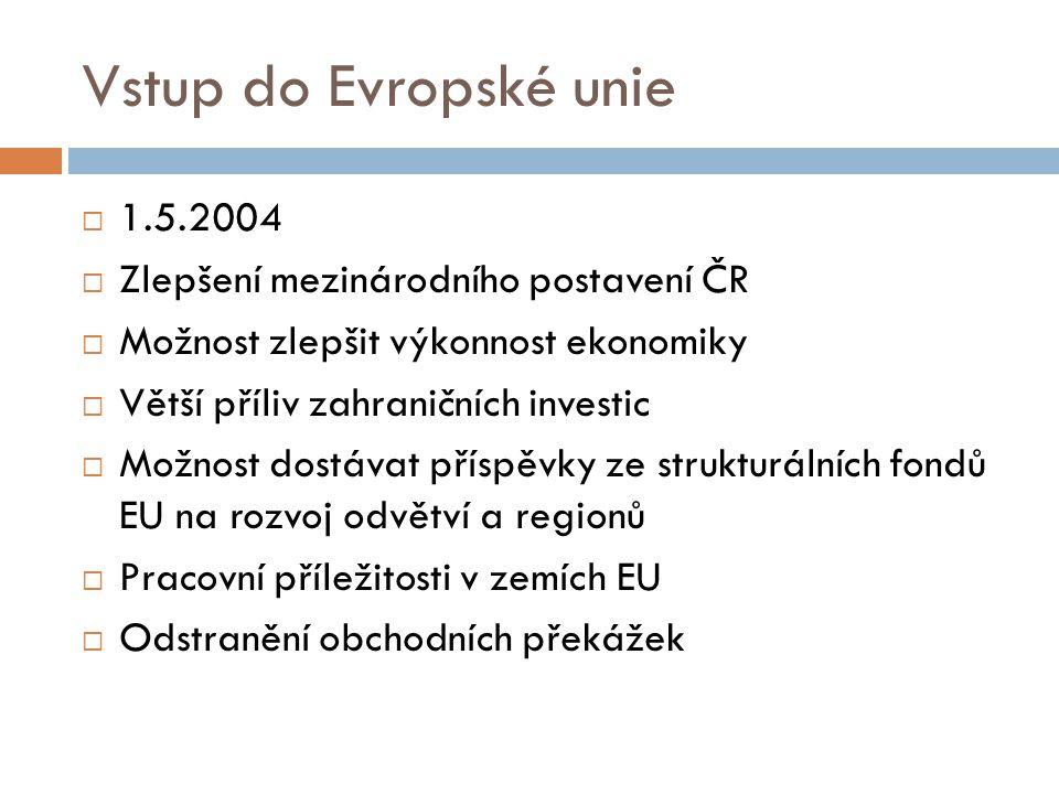Vstup do Evropské unie 1.5.2004 Zlepšení mezinárodního postavení ČR