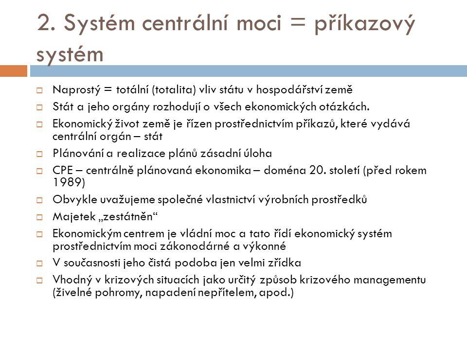 2. Systém centrální moci = příkazový systém