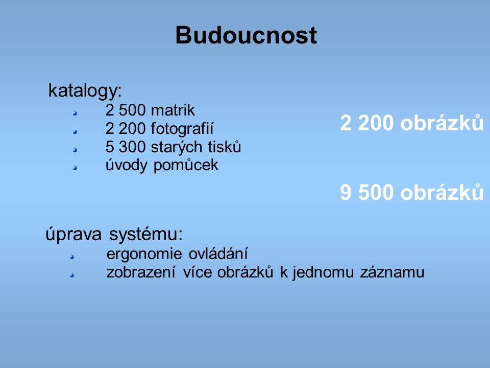 Budoucnost 2 200 obrázků 9 500 obrázků katalogy: úprava systému: