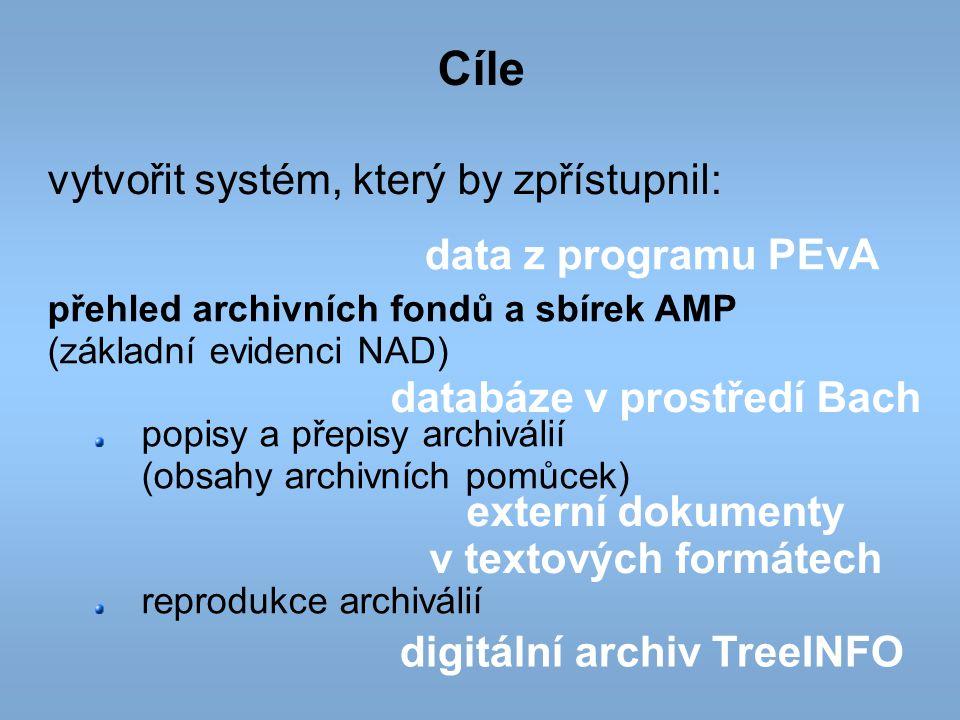 Cíle vytvořit systém, který by zpřístupnil: data z programu PEvA