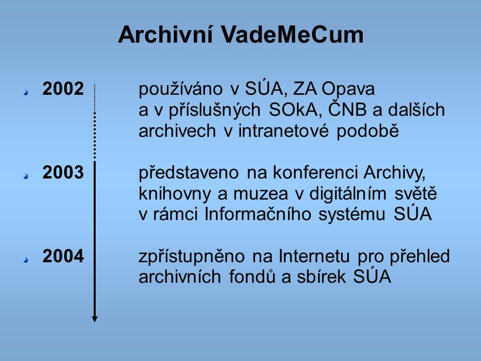 Archivní VadeMeCum 2002 používáno v SÚA, ZA Opava a v příslušných SOkA, ČNB a dalších archivech v intranetové podobě.