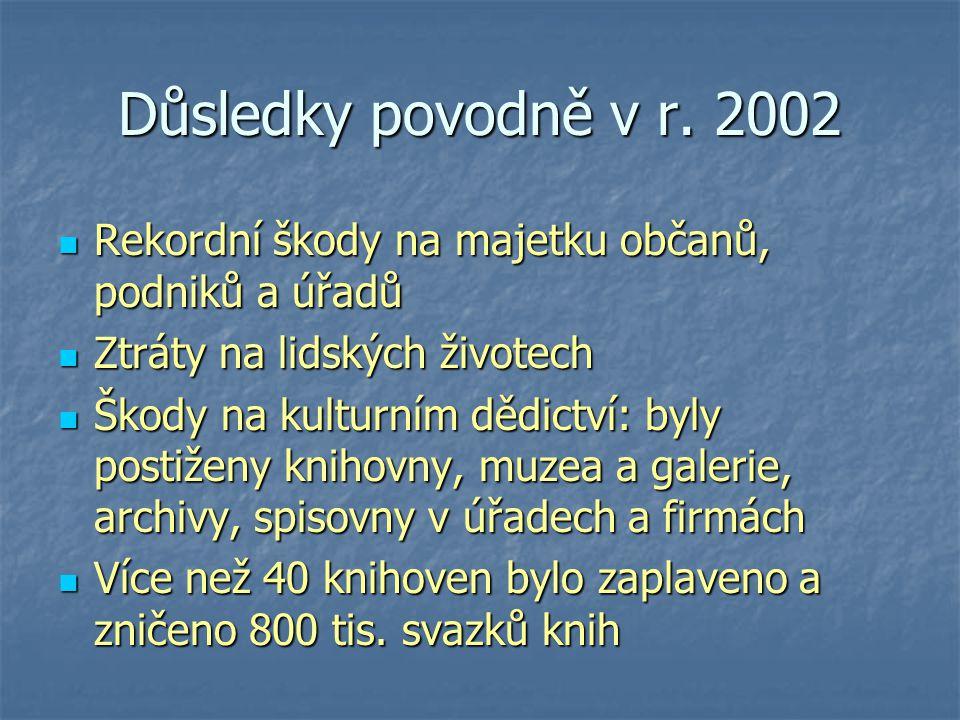 Důsledky povodně v r. 2002 Rekordní škody na majetku občanů, podniků a úřadů. Ztráty na lidských životech.