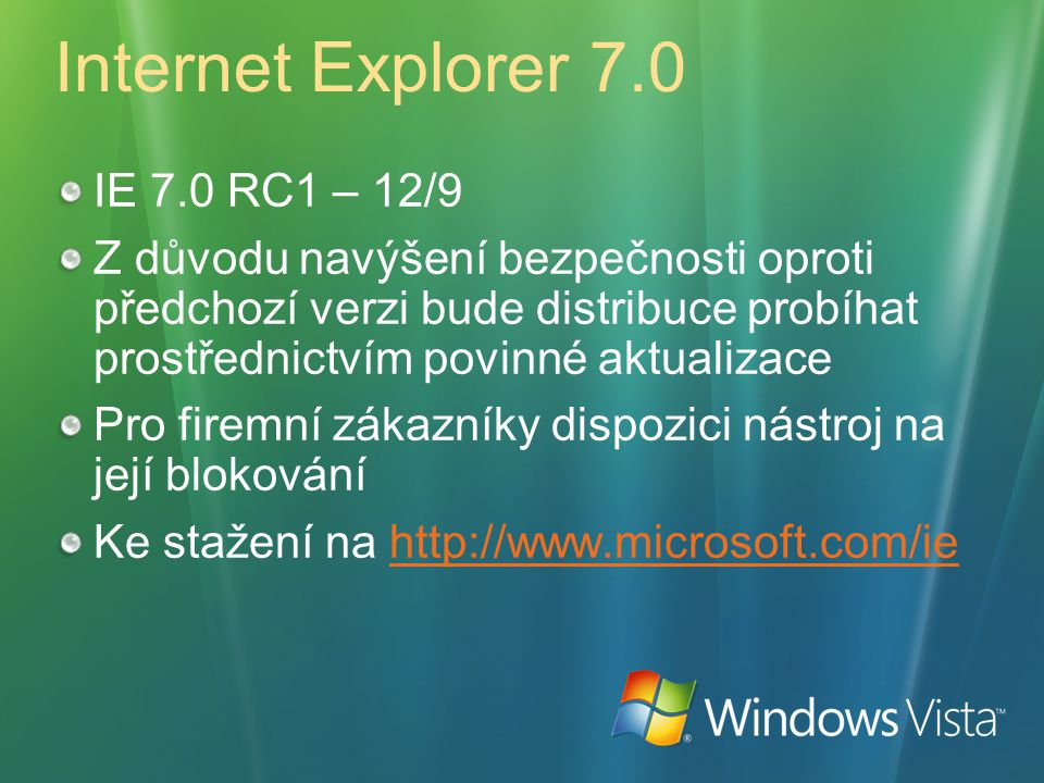 Internet Explorer 7.0 IE 7.0 RC1 – 12/9