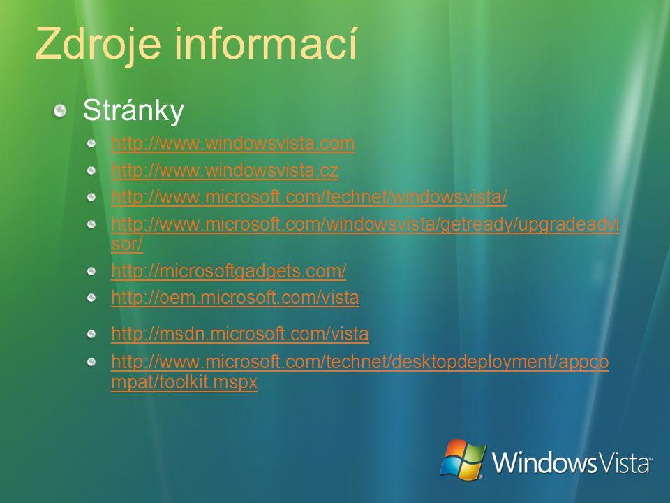 Zdroje informací Stránky http://www.windowsvista.com