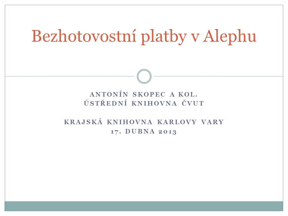 Bezhotovostní platby v Alephu