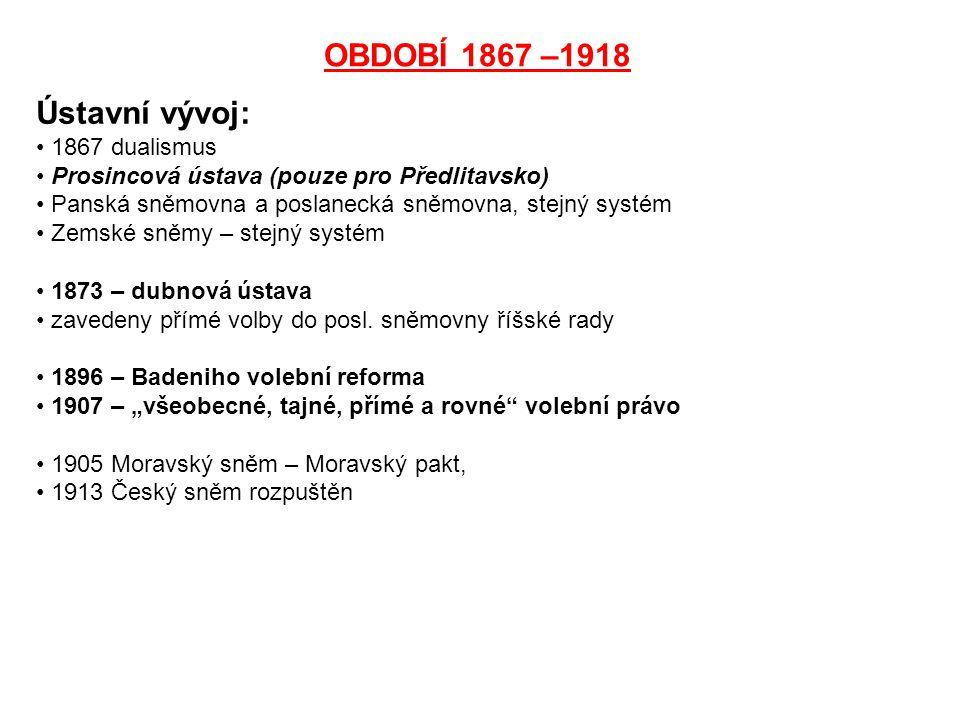 OBDOBÍ 1867 –1918 Ústavní vývoj: 1867 dualismus