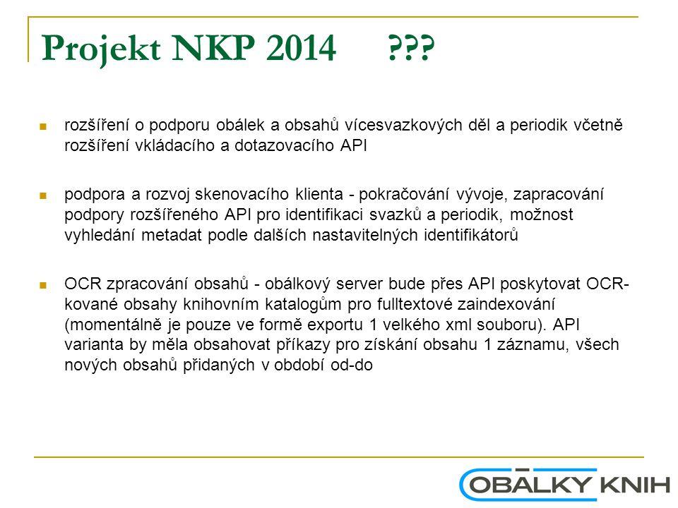 Projekt NKP 2014 rozšíření o podporu obálek a obsahů vícesvazkových děl a periodik včetně rozšíření vkládacího a dotazovacího API.