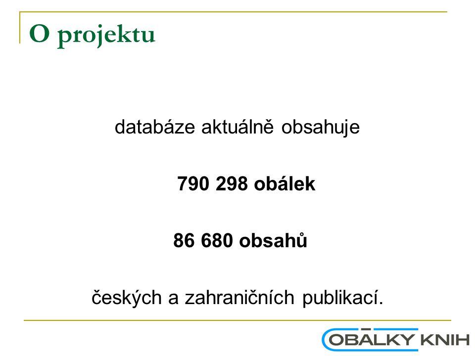O projektu databáze aktuálně obsahuje 790 298 obálek 86 680 obsahů