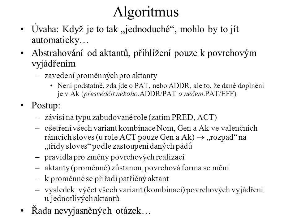 """Algoritmus Úvaha: Když je to tak """"jednoduché , mohlo by to jít automaticky… Abstrahování od aktantů, přihlížení pouze k povrchovým vyjádřením."""
