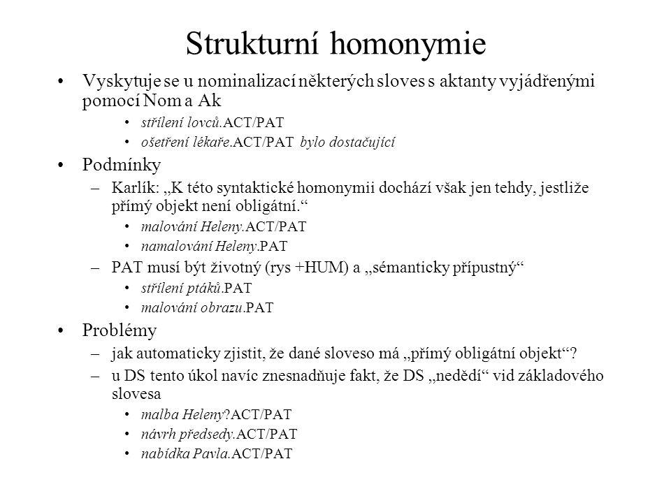 Strukturní homonymie Vyskytuje se u nominalizací některých sloves s aktanty vyjádřenými pomocí Nom a Ak.