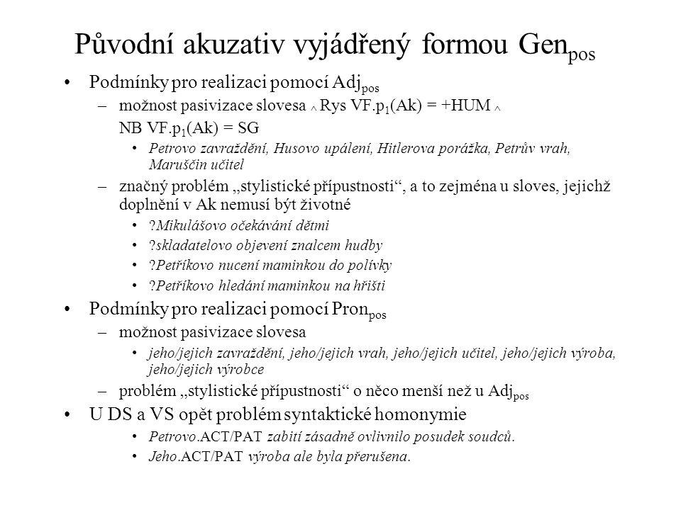 Původní akuzativ vyjádřený formou Genpos