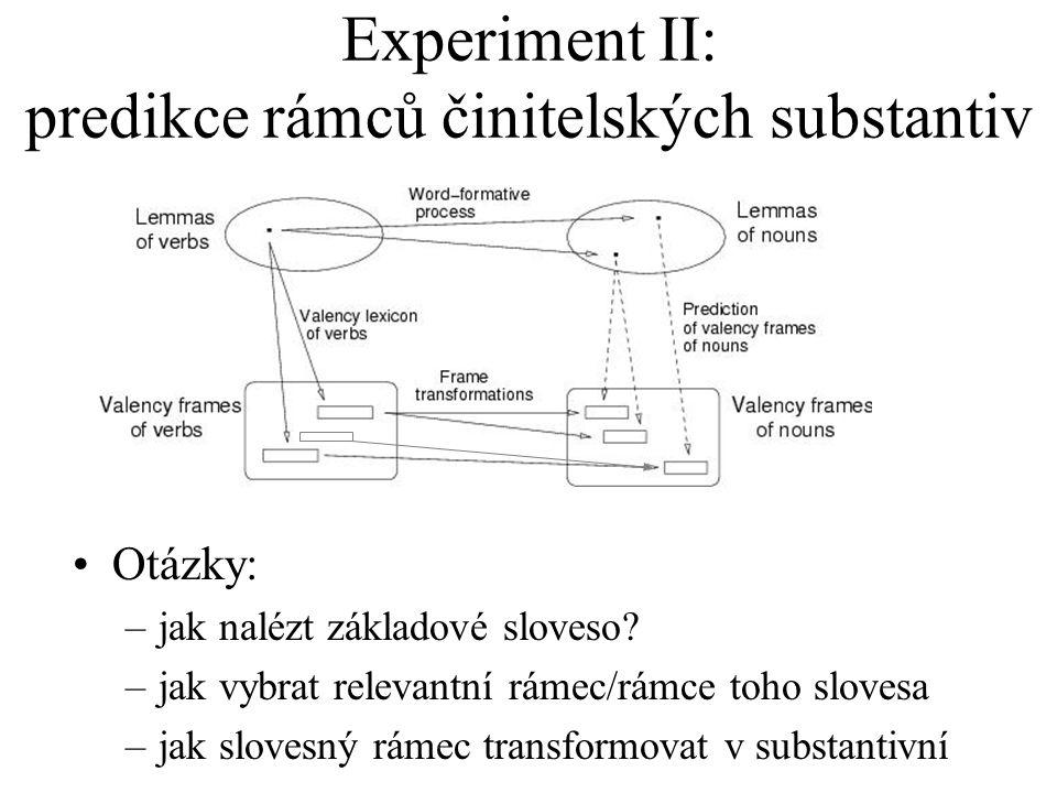 Experiment II: predikce rámců činitelských substantiv