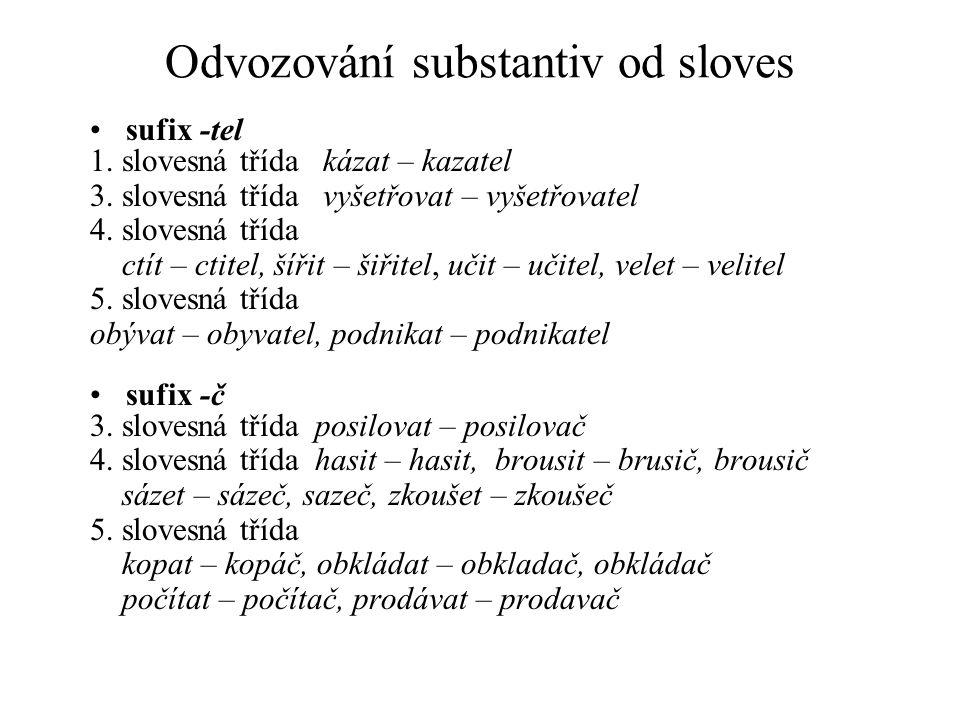 Odvozování substantiv od sloves