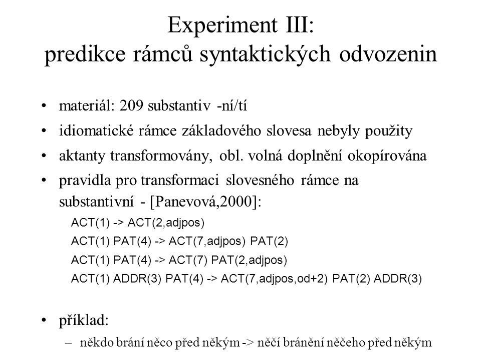 Experiment III: predikce rámců syntaktických odvozenin