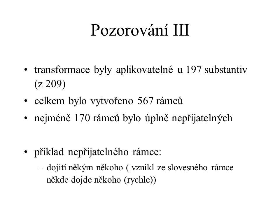 Pozorování III transformace byly aplikovatelné u 197 substantiv (z 209) celkem bylo vytvořeno 567 rámců.
