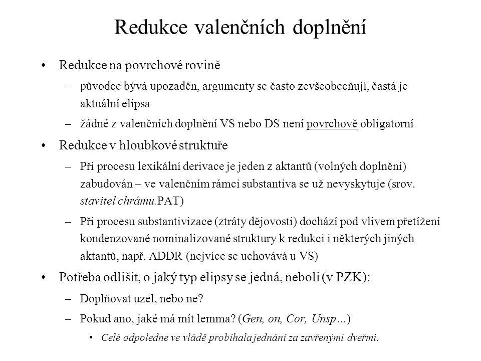 Redukce valenčních doplnění