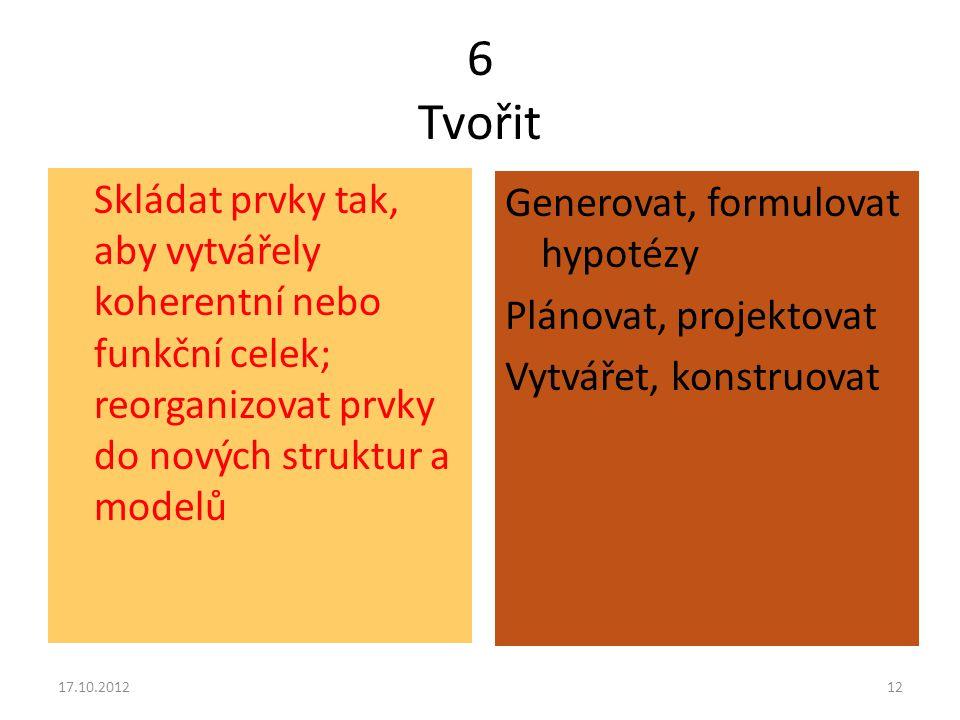 6 Tvořit Skládat prvky tak, aby vytvářely koherentní nebo funkční celek; reorganizovat prvky do nových struktur a modelů.