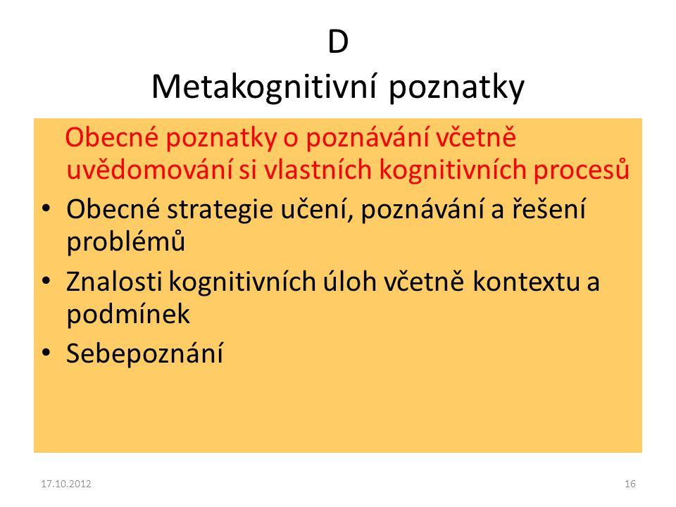 D Metakognitivní poznatky