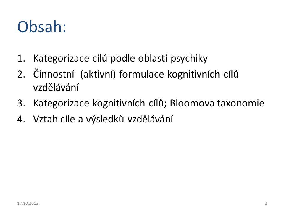 Obsah: Kategorizace cílů podle oblastí psychiky