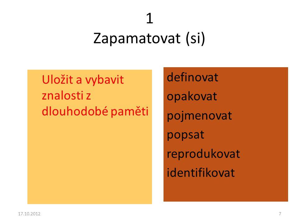 1 Zapamatovat (si) definovat opakovat pojmenovat popsat reprodukovat identifikovat Uložit a vybavit znalosti z dlouhodobé paměti.