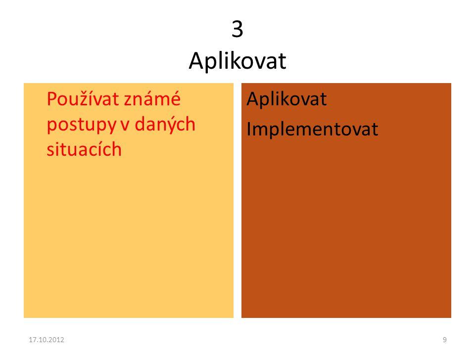 3 Aplikovat Aplikovat Implementovat